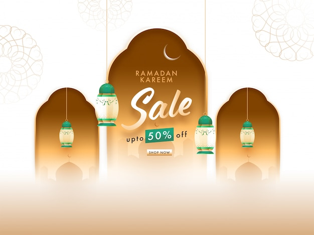 Ramadan kareem-concept met hangende lantaarns, halve maan en moskee op bloemenachtergrond.