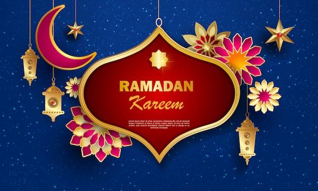 Ramadan kareem-conceptbanner met islamitische geometrische patronen.