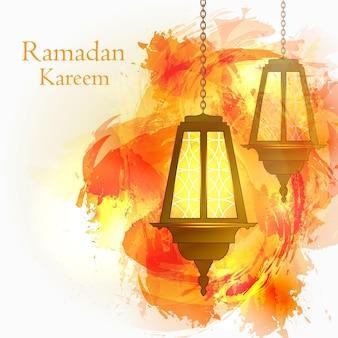 Ramadan kareem. de maand ramadan. moslim bericht. islamitische feestdag. brandende lampjes aan de ketting. oranje aquarel achtergrond. vector illustratie.