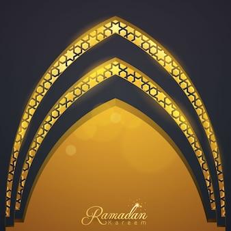 Ramadan kareem-de moskeedeur van het groetmalplaatje