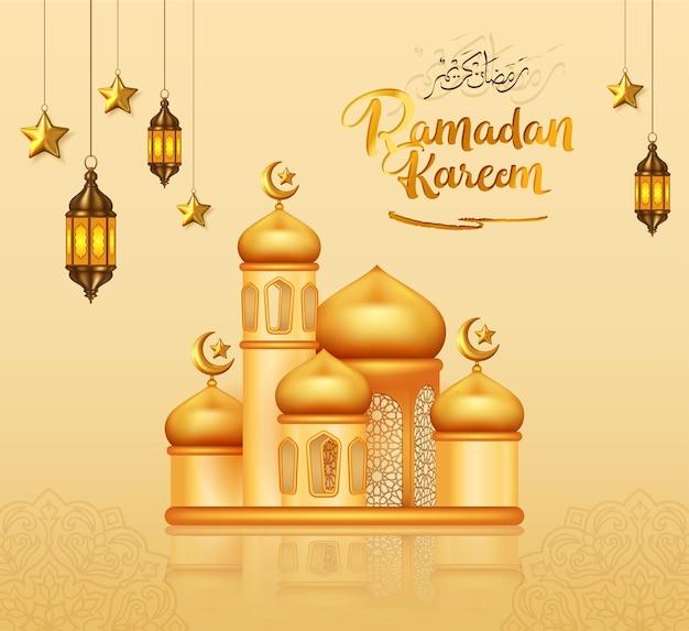 Ramadan kareem decoratief ontwerp met 3d gouden moskee