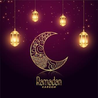 Ramadan kareem eid festival gloeiende lampen en maan