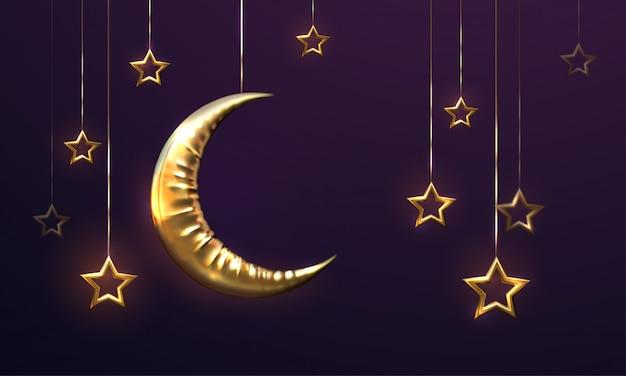 Ramadan kareem. eid mubarak. islamitische illustratie met halve maan en hangende sterren.