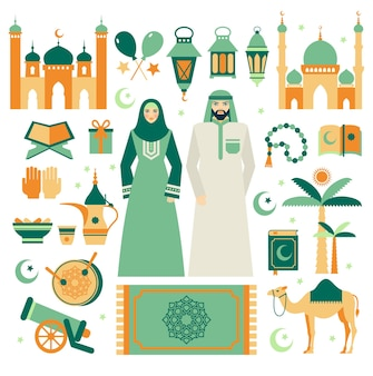 Ramadan kareem, eid mubarak pictogrammenset