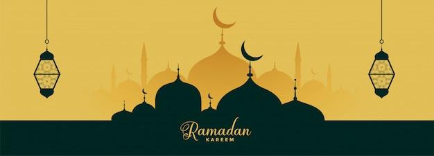 Ramadan kareem elegante banner met moskee en lantaarn