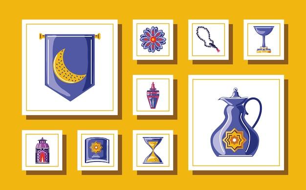 Ramadan kareem-elementen instellen met rozenkrans, waterkoker, beker, heilige koranboek