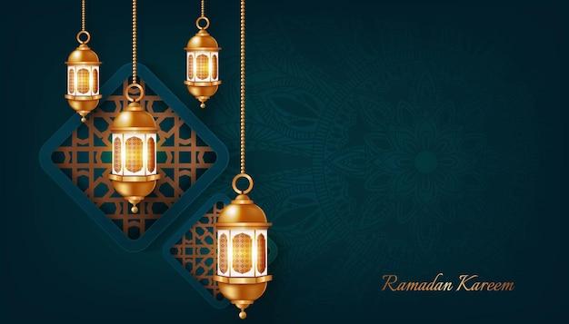 Ramadan kareem en gelukkige eid mubarak achtergrondillustratie