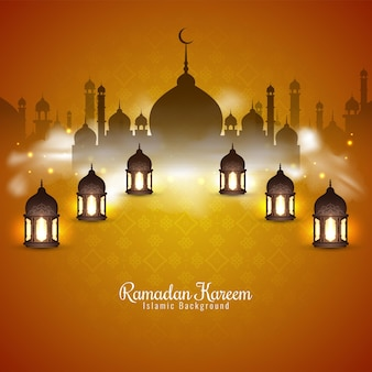 Ramadan kareem festival achtergrond met lantaarns