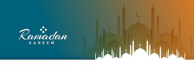 Ramadan kareem-festivalbanner met moskeeontwerp