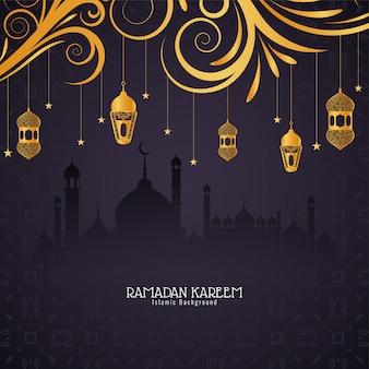 Ramadan kareem-festivalkaart met gouden lantaarns