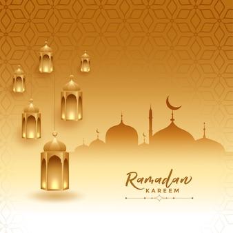 Ramadan kareem-festivalkaart met moskee en lampen