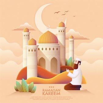 Ramadan kareem-gebed en moskee in handgetekende stijl
