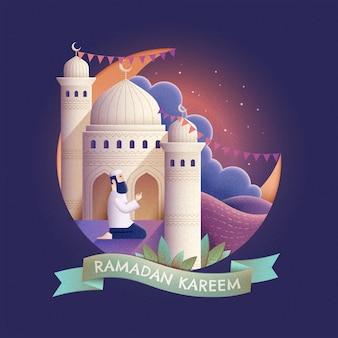 Ramadan kareem-gebed en moskee 's nachts in handgetekende stijl