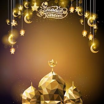 Ramadan kareem gloeit gouden halve maan en ster