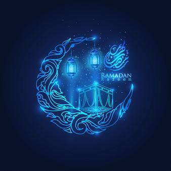 Ramadan kareem glow arabic lantern, moon & stars islamic crescent
