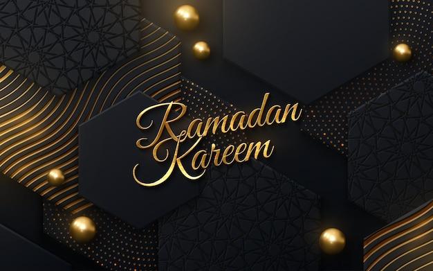 Ramadan kareem gouden bord op zwarte geometrische vormen met traditionele girih patroon en glitters