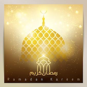 Ramadan kareem gouden gloed moskee koepel voor begroeting achtergrond