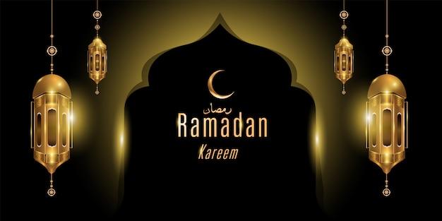 Ramadan kareem gouden islamitische wenskaart banner