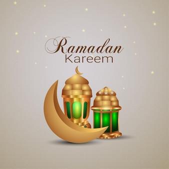 Ramadan kareem gouden maan en gouden lantaarn