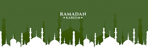 Ramadan kareem groet met moskee ontwerp banner
