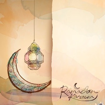 Ramadan kareem groet ontwerp achtergrond