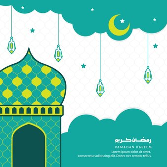 Ramadan kareem groet, papier gesneden met moskee, halve maan