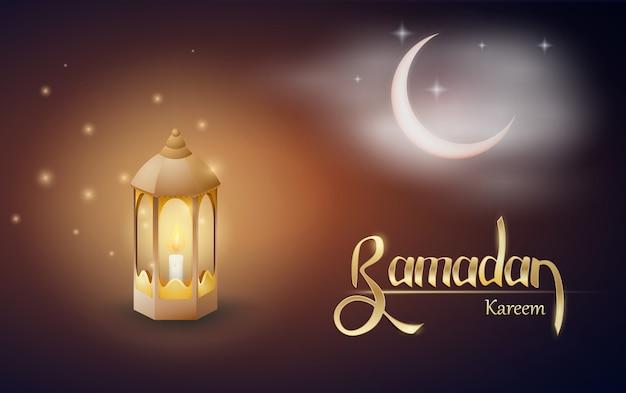 Ramadan kareem-groeten met fanus op een donkere gloeiende achtergrond.