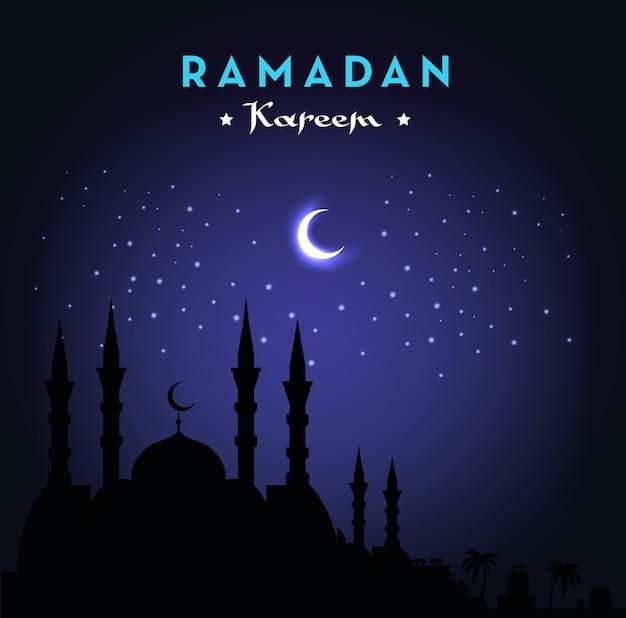 Ramadan kareem-groetkaart met moskee en nachthemel