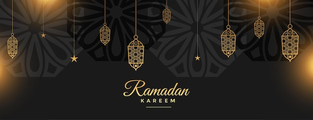 Ramadan kareem heilige festivalbanner in zwarte en gouden stijl
