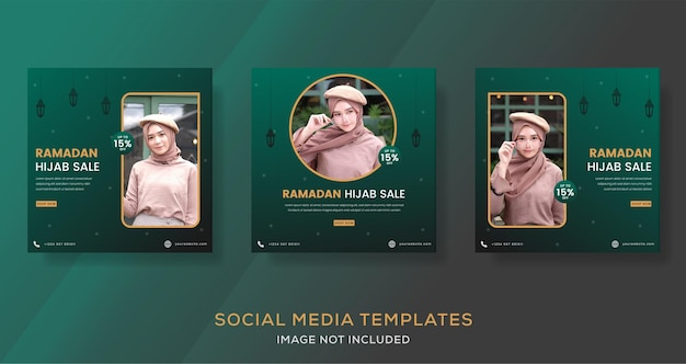 Ramadan kareem hijab banner voor mode verkoop sjabloon post