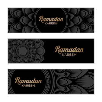 Ramadan kareem horizontal banner met mandala-ornament op zwarte achtergrond