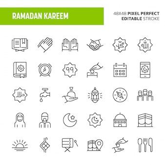 Ramadan kareem icon set Premium Vector