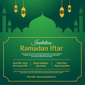 Ramadan kareem iftar uitnodiging ontwerp met lantaarn