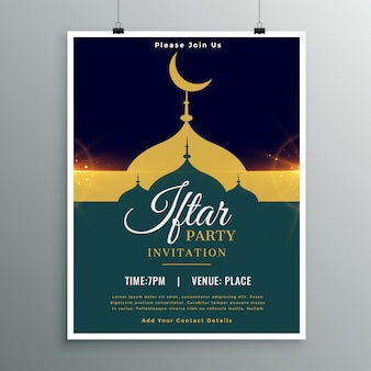 Ramadan kareem iftar uitnodiging voor feestsjabloon