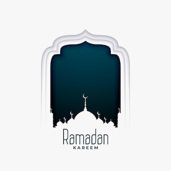 Ramadan kareem-illustratie in papieren stijl met moskee