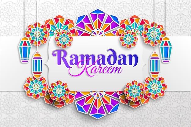 Ramadan kareem-illustratie in papieren stijl