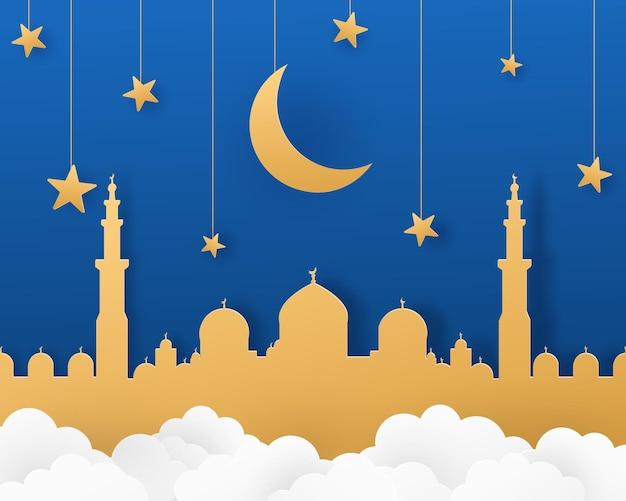 Ramadan kareem illustratie in papierstijl met maansterren gebouw