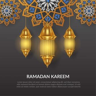 Ramadan kareem illustratie met gouden lamp en maan voor vieren ramadan op grijze achtergrond