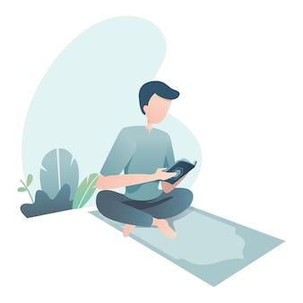 Ramadan kareem illustratie met moslim gelezen heilige koran