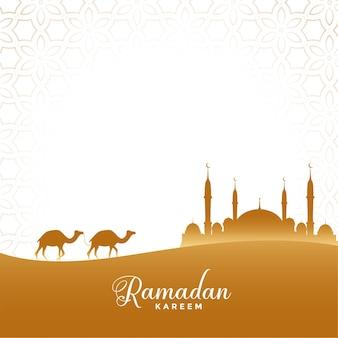 Ramadan kareem illustratie woestijnscène met kameel en moskee