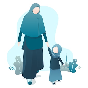 Ramadan kareem illustration with moslem family illustration