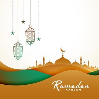 Ramadan kareem in papieren stijl Gratis Vector