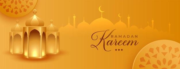 Ramadan kareem islamitisch gouden spandoekontwerp Gratis Vector