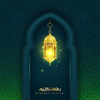 Ramadan kareem islamitisch ornament en realistische sprankelende lantaarns