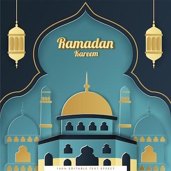 Ramadan kareem islamitische achtergrond met tosca donkerblauw papier gesneden stijl