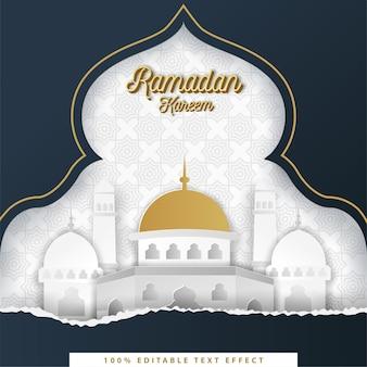 Ramadan kareem islamitische achtergrond met witte, donkerblauwe papierstijl