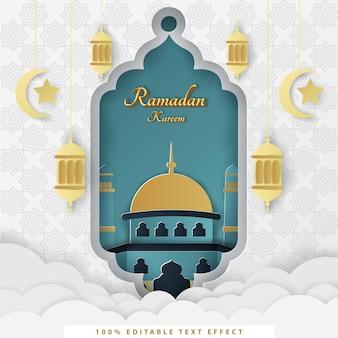 Ramadan kareem islamitische achtergrond met witte tosca gouden papierstijl
