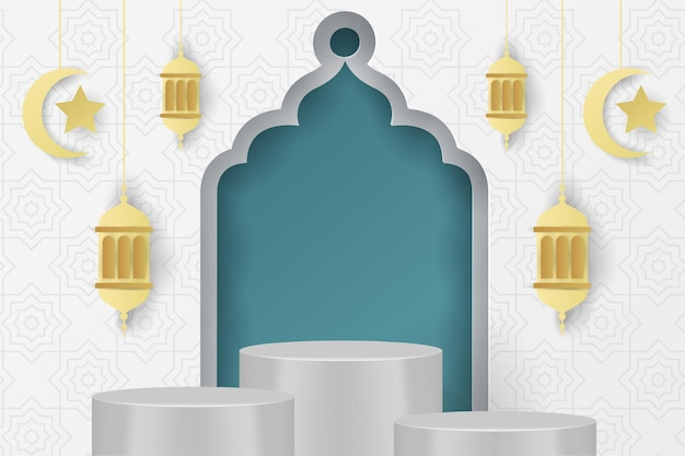 Ramadan kareem islamitische achtergrond podium blauwe tosca