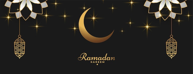 Ramadan kareem islamitische banner in gouden zwarte kleur