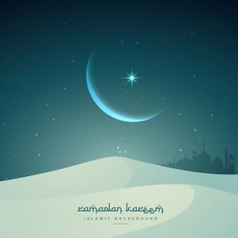 Ramadan kareem islamitische festival met maan en zandduinen